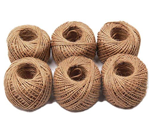 AAYU Natural Jute Twine Balls | 4 Ply 328 Feet (6 Pack) | Perfect for Arts, Crafts, Gift Packing Materials, Garden Applications, DIY Decorations, Embellishments | Total 1960 feet ()