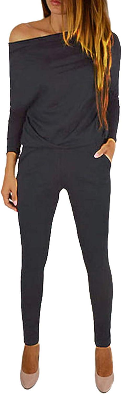Yoins - Mono de manga larga para mujer, un solo hombro, elegante, monocromático