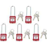 Flameer RED Safety Lockout Padlock, PA & Stainless Steel, High Security, 5pcs