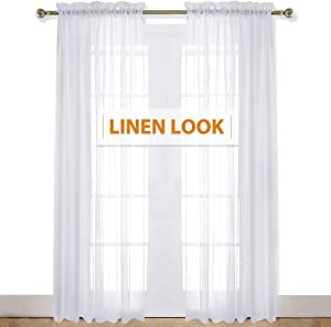 RYB HOME White Sheer Curtains with Linen Textured, Privacy Voile for Bedroom Window Filter Sunlight Glare, Solid Sheer Drapes for High Ceiling Interior Spaces Living Room, 55 x 95 inch, 2 Panels