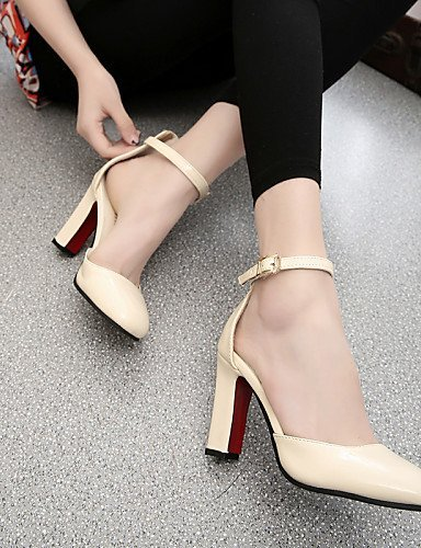 ShangYi Womens Shoes Leatherette Chunky Heel Heels / Square Toe Heels Office & Career / Casual Black / Blue / Pink / White Blue