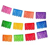 2 pack Medium Plastic Papel Picado Banner''Papel de Corazon'' Design - Each Banner includes 12 Panels and is 16 Feet Long Hanging by Paper Full of Wishes