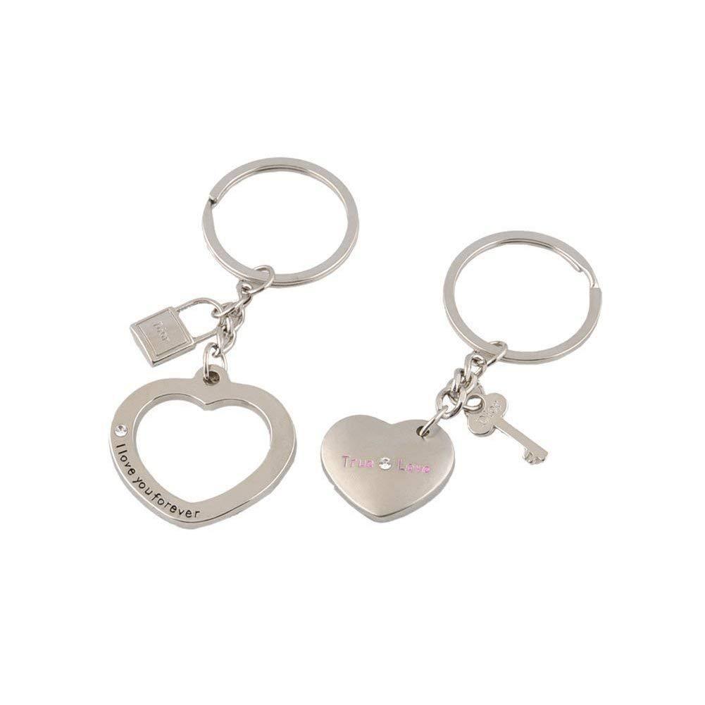 2 Pc of Love True Couple Keyrings Key Lock Heart Key for Valentine's Day Gift