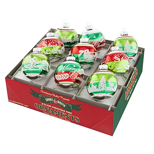 Shiny Brite Holiday Splendor Signature Flocked Rounds Two-Tone - Set of Nine (Vintage Shiny Brite Ornaments compare prices)