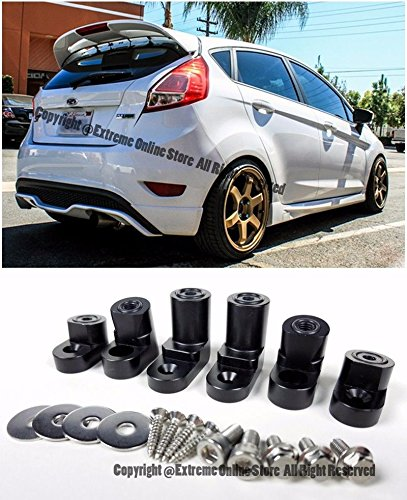 Hatch Wing (For 14-Up Ford Fiesta ST 5Dr Hatchback ANODIZED BLACK Rear Wing Spoiler Riser Extender Kit 2014 2015 2016 2017 14 15 16 17 Wagon Hatch)