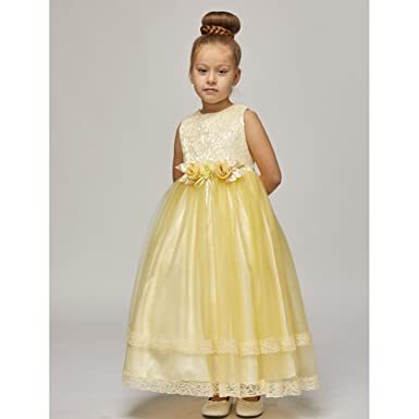 b66297ac33f Big Girls Yellow Lace Trim Double Layered Tulle Junior Bridesmaid Dress 10