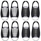 KCDDUMK No Tie Shoelaces for Kids & Adults(4/6 Packs), Silicone tieless Elastic Shoe Lace for Flat Sneakers Board Shoes-Waterproof(Black and White)