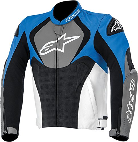 Alpinestars Jaws Perforated Leather Men's Riding Jacket (Blue/Anthracite/Black, Size 48)