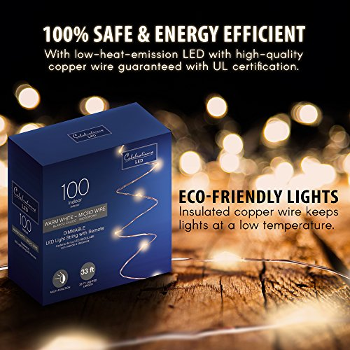 Celebrations 33ft 100 LED String Lights  Dimmable Multifucnt