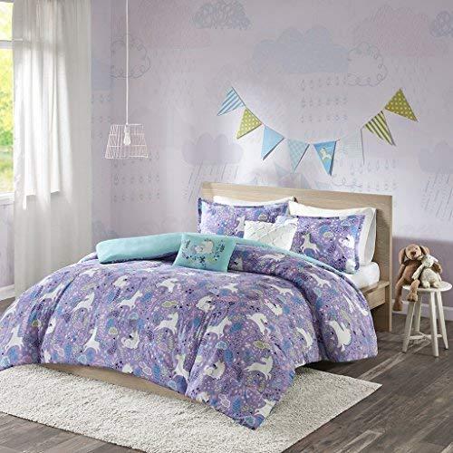 Urban Habitat Kids Lola Full/Queen Duvet Cover Set Girls Bedding - Purple, Aqua, Unicorns – 5 Piece Kids Girls Duvet Set – 100% Cotton Bed Duvet Covers (Rainbow Jersey Cotton)