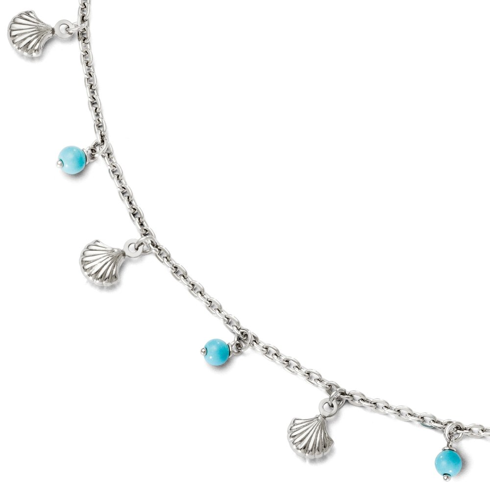 Black Bow Jewelry Sterling Silver Turquoise Bead & Sea Shell Dangle Anklet, 9-10 Inch