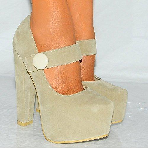 Mesdames Beige Court 3 Mary Chaussures Talons Dissimulé formes Janes Womens Plates Suédine De 8 Xzq8wc7