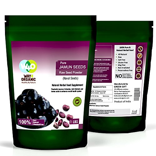 Jamun Seed Powder 16 Ounces(1 Pound) – All Natural, No Preservative, No Filler – Way4Organic For Sale