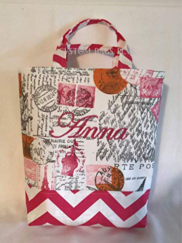 Hand/Bible Bag with Inside Pocket shown in Amore and Candy Pink Zig Zag with Hot Pink Monogram by Custom Bags Plus - Candy Amore