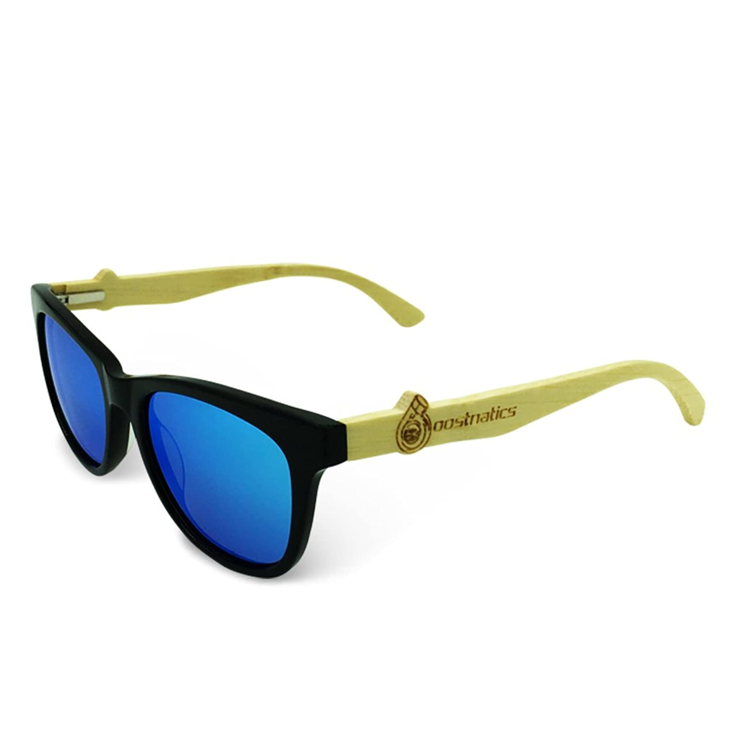 Boostnatics Bamboo Wood Boosted Turbo Shades - Black / Polarized Ice Blue Lens
