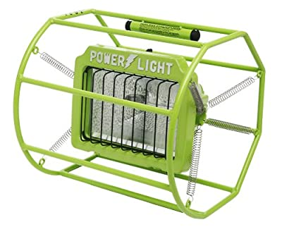 Designers Edge L113 Industrial Impact-Resistant Untippable-Spring Mounted Portable Halogen Work Light, Green, 500-Watt