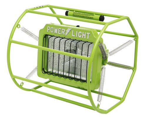 Woods L113 Industrial Impact-Resistant Untippable-Spring Mounted Portable Halogen Work Light, Green, 500-Watt