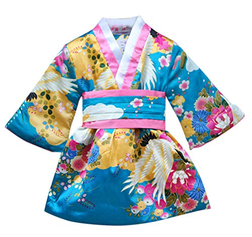 FANCYKIDS Japanese Girls Toddler Baby Kimono Robe Dress Outfit Costume (2 to 3 Years Old, Aqua)