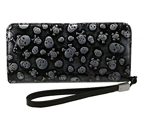 ABC STORY Women Cute Leather Bling Strap Skull Wallet Wristelts with Zipper Coins Pocket Purse Black
