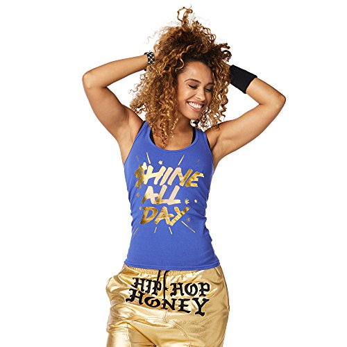 Zumba Graphic Gym Athletic Shirts Dance Workout Racerback Tank Tops for Women,Blue,Medium (Jersey Sleeveless Metallic)