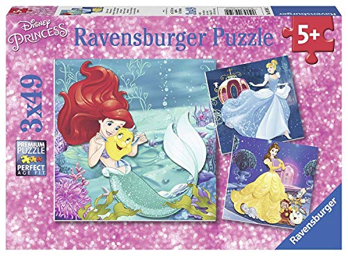 Disney The Princesses Puzzles 3 in a Box Featuring Cinderella Belle and Ariel Ages 5 and Up ()