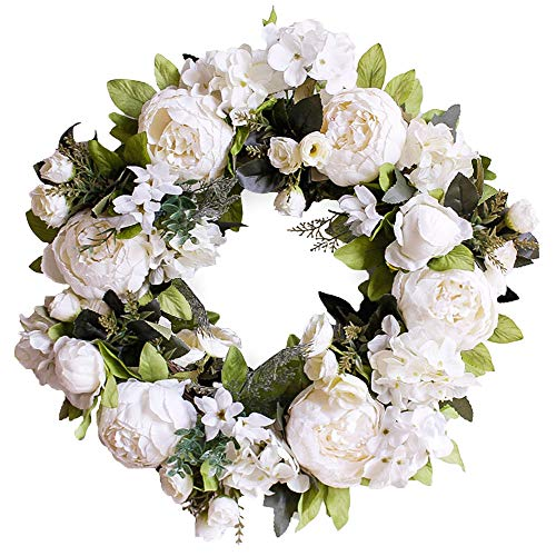 "LASPERAL Artificial Peony Flower Wreath 15"" Flower Door Wreath with Green Leaves Spring Wreath for Front Door, Wedding, Wall, Home Decor (Light Cream)"