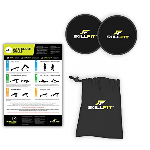 2-Piece Core Sliders Gliding Discs Set and Exercise Regimen Poster for Home Gym and Crossfit Abdominal Strength Training Workouts Includes Carry Bag