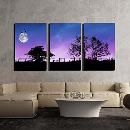 wall26 - 3 Piece Canvas Wall Art - Fence and Trees Silhouettes with Moon and Stars on the Dark Sky - Modern Home Decor Stretched and Framed Ready to Hang - 16