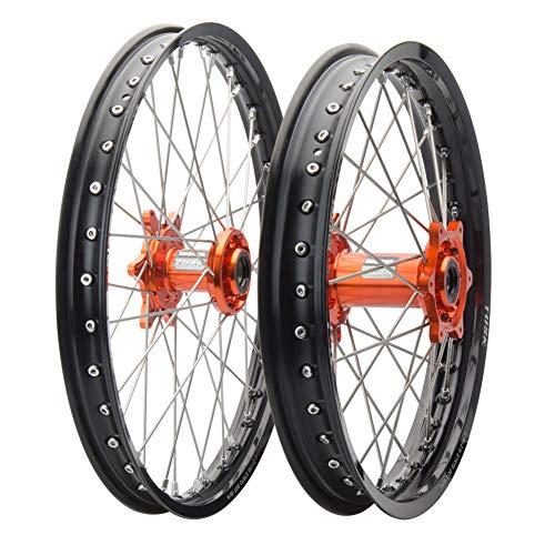 Tusk Impact Complete Front/Rear Wheel Kit 1.60 x 21/2.15 x 19 Black Rim/Silver Spoke/Orange Hub - Fits: KTM 450 SX-F Factory Edition 2012-2018