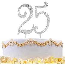 DreamsEden 25th Birthday Cake Topper - Crystal Rhinestone Wedding Anniversary Party Favors Decorations (25th/Silver)