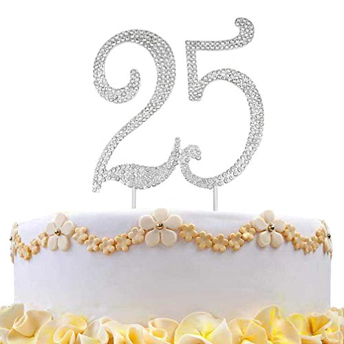 DreamsEden 25th Birthday Cake Topper - Crystal Rhinestone Wedding Anniversary Party Favors Decorations (25th/Silver) -