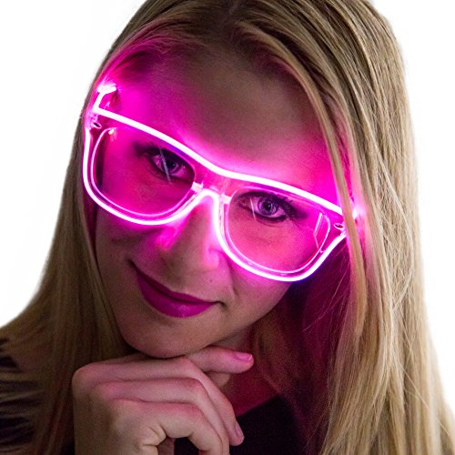 Neon Nightlife Pink Frame/Clear Lens Light Up Glasses