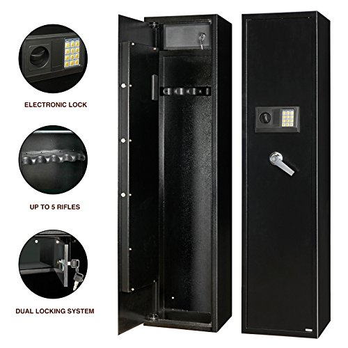 5 Rifle Gun Storage Safe Electronic Lock Cabinet Lockbox Case Firearm - Bluffton Mall Sc Outlet