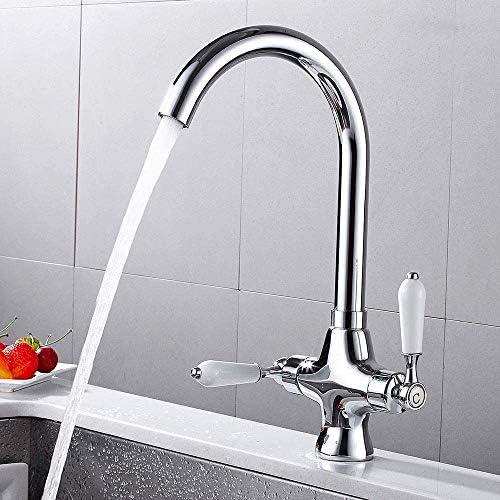 Dmqpp Kitchen Sink Mischbatterien Twin Lever 360 Grad Schwenkauslauf Chrom Monoblock Becken Messinghahn mit Schläuche und Armaturen Stufenmischer