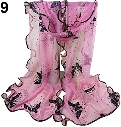 yuguEnviprot Women Butterfly Printed Scarf Tulle Long Soft Wrap Shawl Hemming Scarf Outdoor Travel Decor Pink