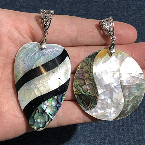 [ABCgems] New Zealand Abalone & Tahitian White Lip Oyster Shell Inlaid (Pear & Coin Shape) Pendant for Jewelry - Inlaid Spiny Oyster