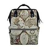 WOZO Old World Map Art Multi-function Diaper Bags Backpack Travel Bag