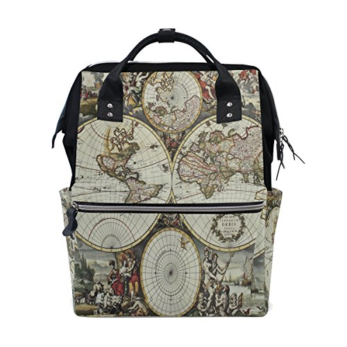 WOZO Old World Map Art Multi-function Diaper Bags Backpack Travel Bag by WOZO