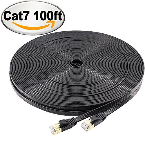 NCElec Flat STP Cat7 Ethernet Cable, Safe for In-wall and Outdoor Use (100Ft, Black)