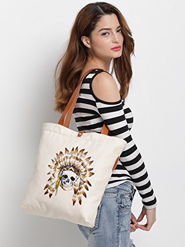 IN.RHAN Women's Indian Skull Graphic Canvas Tote Bag Casual Shoulder Bag Handbag