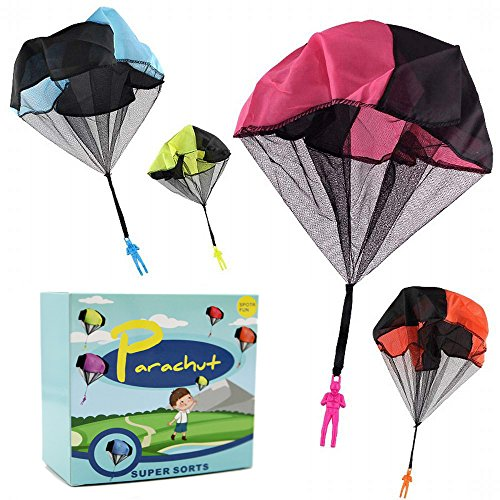 DASEY 4PCS Set Tangle Free Throwing Parachute Figures Hand Throw Soliders Parachute Square Outdoor Children's Flying Toys   No Strings No Batteries Toss It Up
