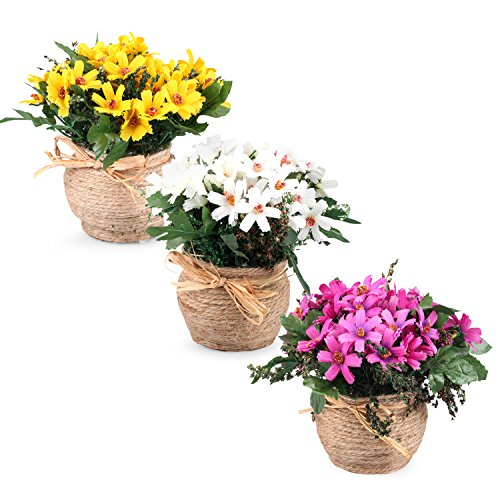 Set Of 3 Louis Garden Hemp Rope Basket Daisy Artificial Flowers Hay Pack Home Decoration