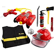 WolVol All-In-1 (Realistic Lights and Sounds, Water Spray) Bundle Fire Play Set Toy for Kids, Fire Hat, Backpack Water Gun Blaster, Flashlight, Fire Extinguisher, Dress Up and Badge, Fire Tools, Gears