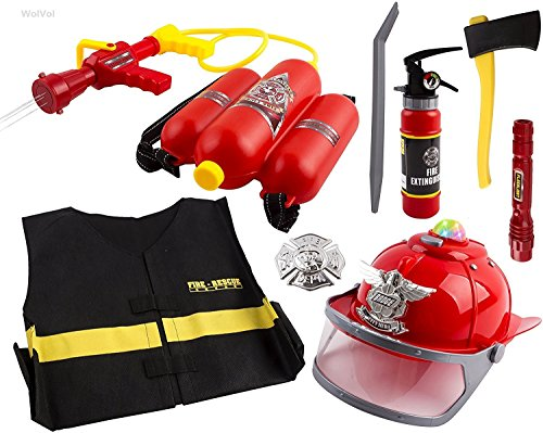 WolVol All-In-1 (Realistic Lights and Sounds, Water Spray) Bundle Fire Play Set Toy for Kids, Fire Hat, Backpack Water Gun Blaster, Flashlight, Fire Extinguisher, Dress Up and Badge, Fire Tools, (Engine Playset)