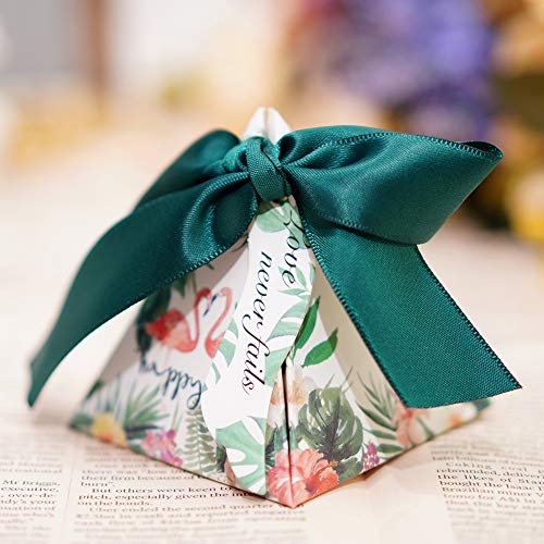 LONGBLE 50 Pcs Flamingo Paper Wedding Candy Boxes Triangle Wedding Gift Box Candy Bags with Double-Sided Printing for Birthday Party, Baby ()