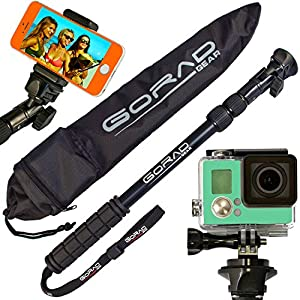 Waterproof Selfie Stick for GoPro Hero 6 & Session, iPhone 7 & 6 Plus, Samsung S8 & All Digital Cameras. Sturdy Construction. Designed to Resist Saltwater Corrosion. Include Mounts & Nylon Carry Bag.