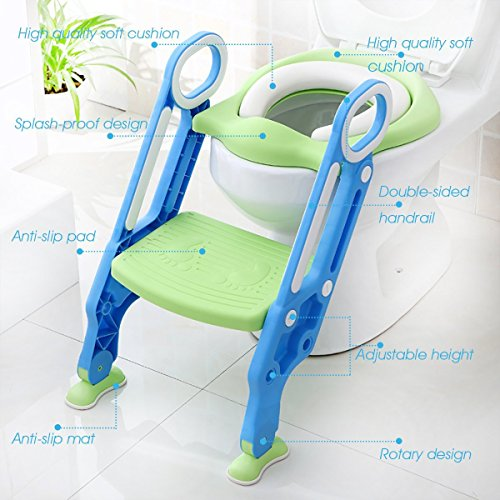Potty Toilet Trainer Seat with Step Stool Ladder Adjustable Baby Toddler Kid Potty Toilet Seat for Boy and Girl Children's Toilet Training Seat Chair by Mangohood (Image #7)