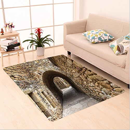 Nalahome Custom carpet n Medieval Ancient Historic Street With Stone Walls in Pals Girona Catalonia Spain Picture Beige area rugs for Living Dining Room Bedroom Hallway Office Carpet (5' X 7') by Nalahome