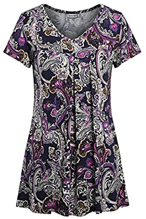eaed29763bc 70%OFF Tencole Womens Round Neck Short Sleeve Summer Tops Pleated Front Tunic  Shirt