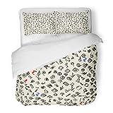 SanChic Duvet Cover Set Movie Depicting Flag Check Internet Clock Music Decorative Bedding Set with 2 Pillow Shams Full/Queen Size